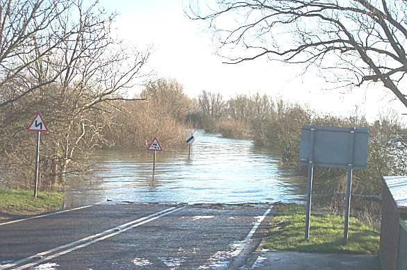 the flooded A1101 Wash road